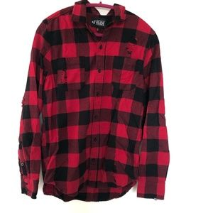 Hot Topic/RUDE Red and Black Destructed Flannel